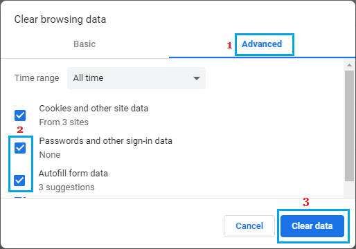 Clear Form Autofill Data in Chrome Browser