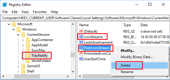 Delete IconStreams and PastIconsStream Registry Keys in Windows 10