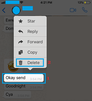 Delete WhatsApp Message Option on iPhone