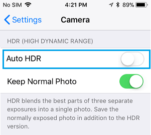 Disable Auto HDR option on iPhone
