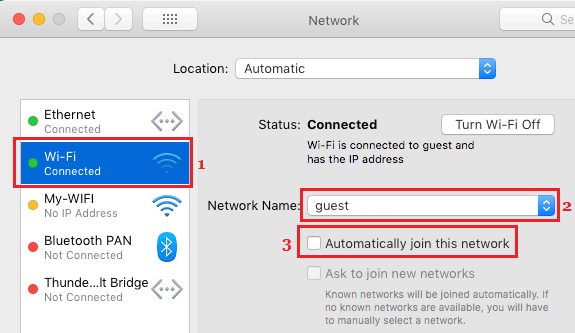 Disable Automatically Join Network Option on Mac
