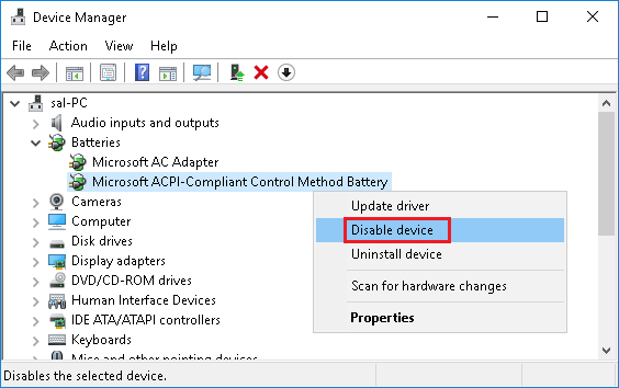 Disable Microsoft ACPI-Compliant Control Method Battery in Windows 10