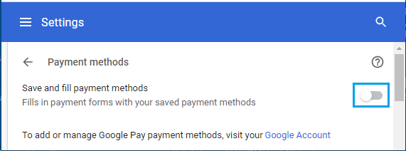 Disable Save and Fill Payments Methods Option in Chrome