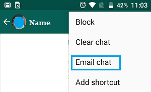 Email Chat Option in WhatsApp on Android Phone