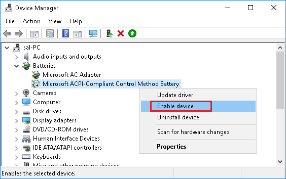 Enable Microsoft ACPI-Compliant Control Method Battery in Windows 10