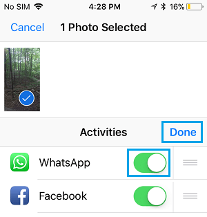 Enable WhatsApp in Sharing Menu on iPhone