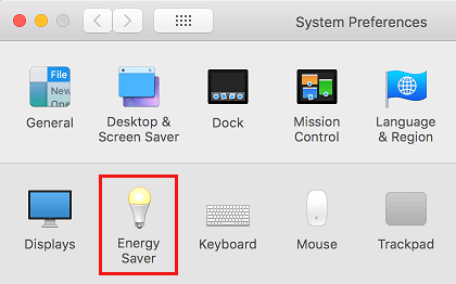 Energy Saver Settings option on Mac