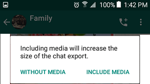 Export Chat With Media or Without Media option on Android