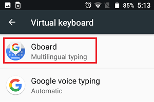 Gboard Tab in Virtual Keyboard Settings Screen on Android