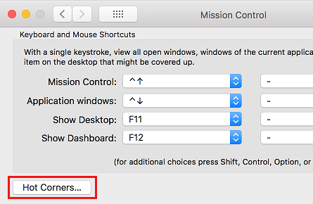 Hot Corners Option on Mac Mission Control Settings Screen