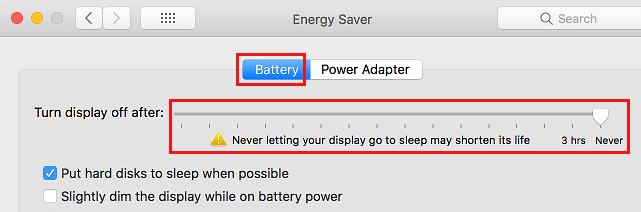 Never Let Mac Display Sleep When Using Battery