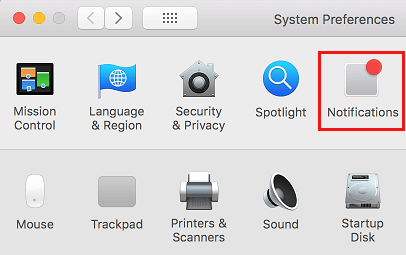 Notifications Tab on Mac System Preferences Screen