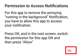 Permission to Access Notifications Pop-up on Android