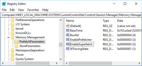 PrefetchParameters Folder in Windows 10 Registry Editor Screen