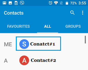 Select Contact to Share on Android Phone