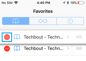 Red Minus Icon in Safari Favorites List