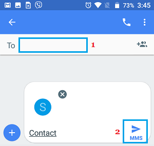 Share Contact VCF File Using MMS on Android Phone