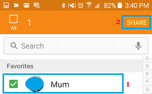 Share Contacts Option on Samsung Galaxy Phone