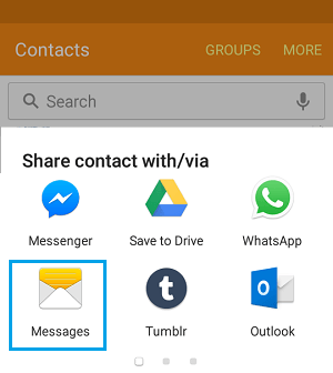 Share Contact Menu Options on Samsung Galaxy Phone