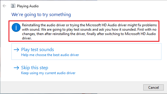 Windows Audio Troubleshooter Trying to Fix Problems in Windows 10
