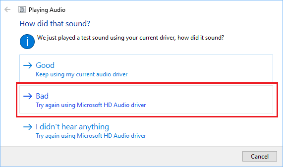 Try Playing Audio Using Microsoft HD Audio Driver in Windows 10