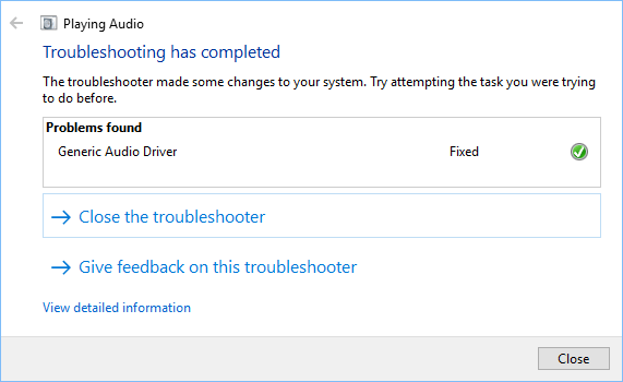 Windows Audio Troubleshooter Fixed Audio Problem in Windows 10