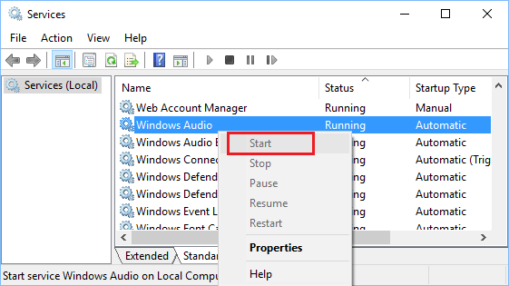 Start Windows Audio Service in Windows 10