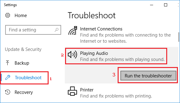 Run Player Audio Troubleshooter
