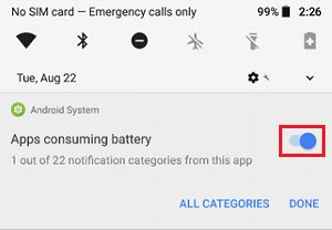 Turn Off Apps Consuming Battery Option on Android
