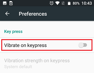 Turn Off Vibrate on Keypress Option on Android Phone