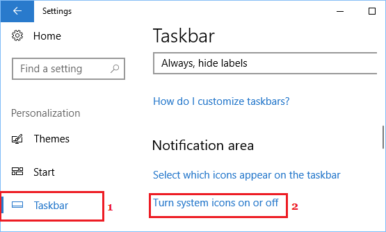 Turn system icons on or off link in Windows 10