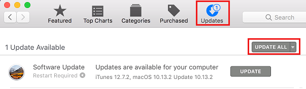 Updates Tab on Mac App Store