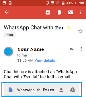 WhatsApp Chat Backup Attached as Text File to Email on Android Phone
