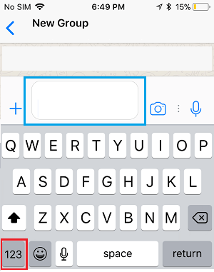 WhatsApp Message Window and 123 Key on iPhone