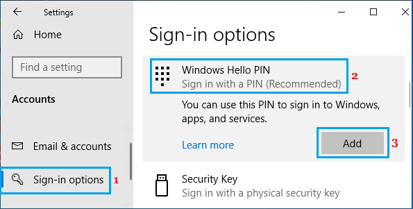 Add Windows Hello PIN to Computer