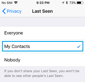 Allow Only My Contacts to See Last Seen on iPhone