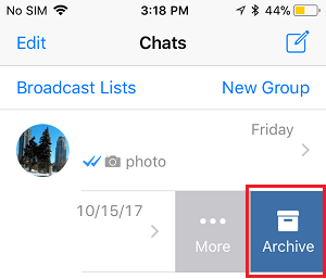 Archive Chat option in WhatsApp