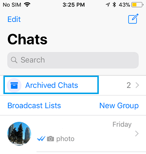 Archived Chats Option in WhatsApp on iPhone