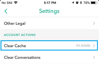 Clear Cache Option in Snapchat