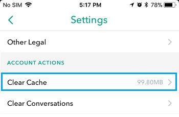 Effacer l'option de cache dans Snapchat
