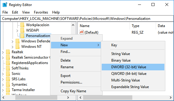 Create New DWORD in Personalization Key