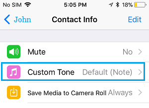 Custom Tone Option in WhatsApp on iPhone
