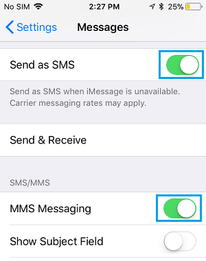Enable MMS and SMS Messaging to Receive Text Messages