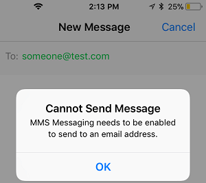 Cannot Send Message Pop-up on iPhone