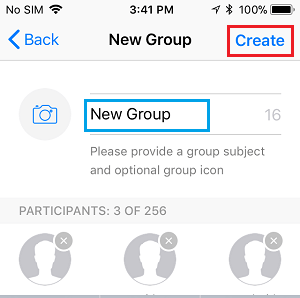 Create WhatsApp Group on iPhone