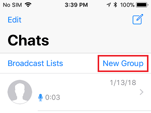 New Group Option in WhatsApp