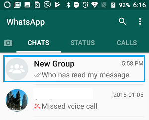 Open Group Chat in WhatsApp on Android Phone