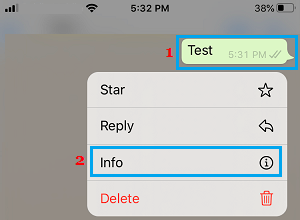 Open WhatsApp Message Info on iPhone