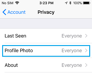 Profile Photo Option in WhatsApp Privacy Screen