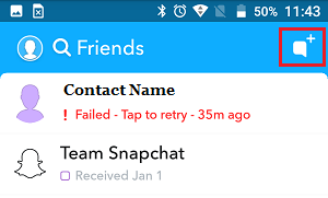 New Message Icon in Snapchat